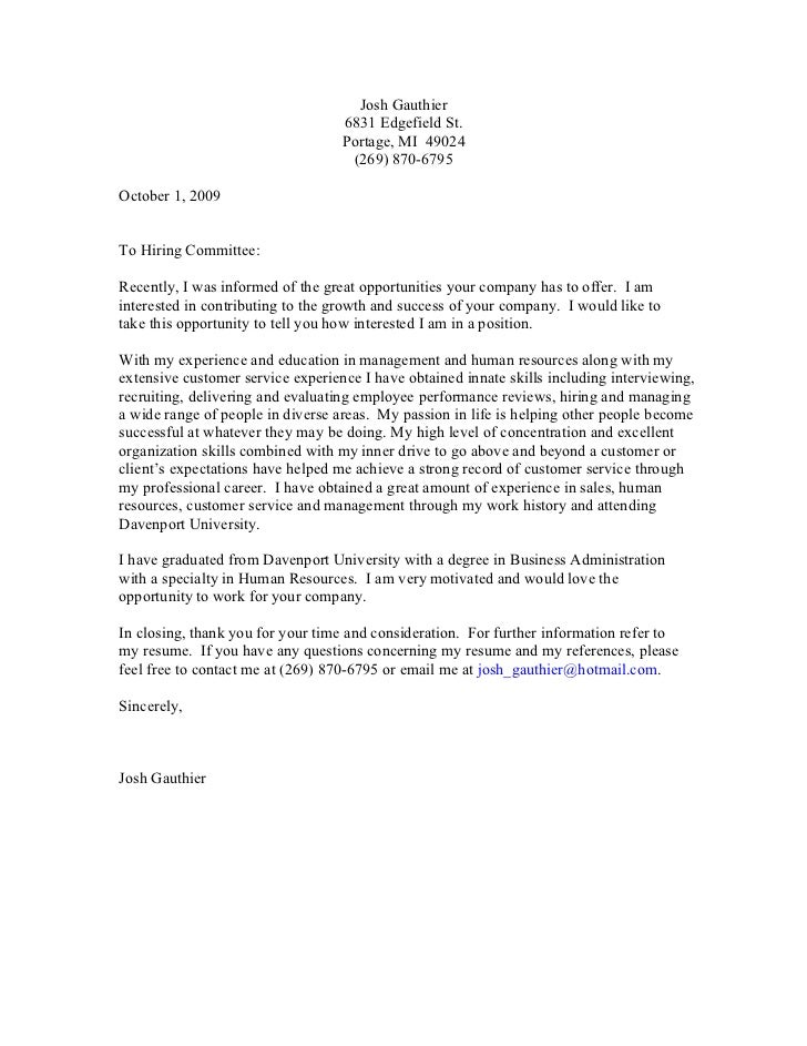 Application Cover Letter 2009